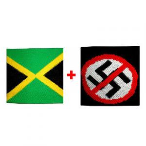 Coppia polsini Jamaica + divieto in spugna gruppi rock e bandiere