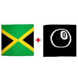 Coppia polsini Jamaica + palla 8 in spugna gruppi rock e bandiere
