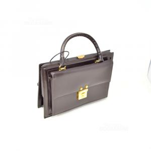 Borsetta Pelle Marrone Scuro Stile Vintage 24x18cm