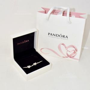 Bracciale Pandora Argento Con Chiusura Cuore+ Charm Cuore (compreso Di Scatola)
