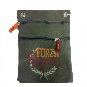 ROMA tracollina regolabile in stoffa grigia FORZA ROMA 2 tasche prodotto ufficia