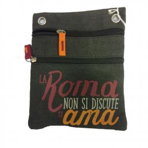 ROMA tracollina regolabile in stoffa nero LA ROMA NON SI ....2 tasche prodotto