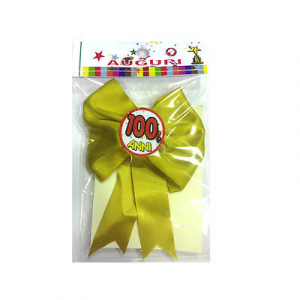 100 ANNI coccarda con spilla in raso 12x12 cm made in italy by Mr.gadgets