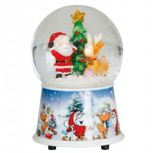 NATALE carillon Sfera di vetro Babbo Natale 15 cm funziona a corda