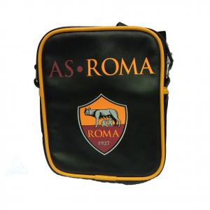 ROMA tracollina regolabile uomo in eco-pelle nera 1 tasca con zip 20,5x16,5x4 cm