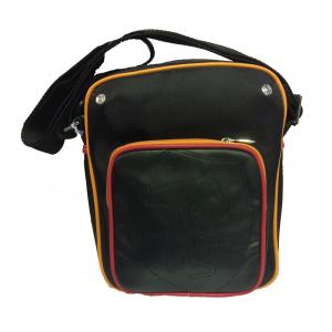 ROMA tracollina regolabile uomo in eco-pelle e stoffa nera 3 tasche con zip