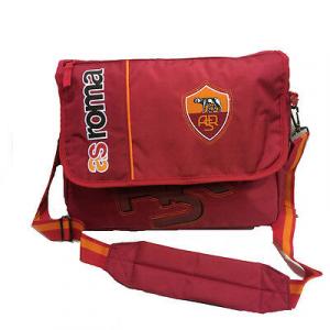 ROMA tracolla scuola regolabile in stoffa rossa ricamata con stemma 5 tasche