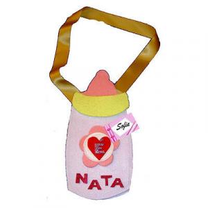 NASCITA biberon rosa da bambina personalizabile con il nome in feltro 24x12 cm