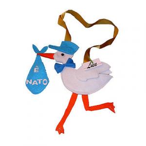 NASCITA cicogna celeste da bambino personalizabile con il nome in feltro 30x32cm