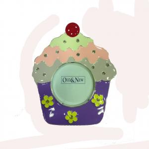 Cornice portafoto in metallo laccato a cupcake viola con brillantini da appoggio
