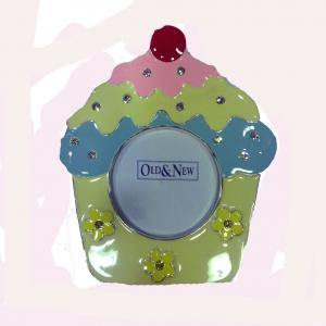 Cornice portafoto in metallo laccato a cupcake con brillantini da appoggio