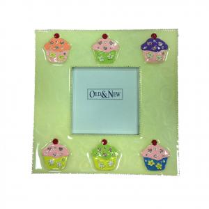 Cornice portafoto metallo laccato con cupcake colorati e brillantini 15,5x15,5cm