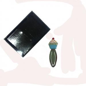 Segnalibro in metallo laccato con cupcake e brillantini 8 cm idea regalo per lei
