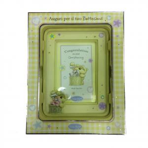 FIZZY MOON cornice foto in resina beige per battesimo 18,5x14 cm idea regalo