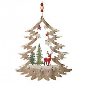 NATALE decorazione natalizia albero in legno renna dim. 28x24 cm circa