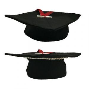 FESTA DI LAUREA cappello tocco 25x25cm in feltro nero+ fiocco+mini pergamena