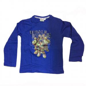 TARTARUGHE NINJA maglia maniche lunghe in cotone blu con stampa varie taglie