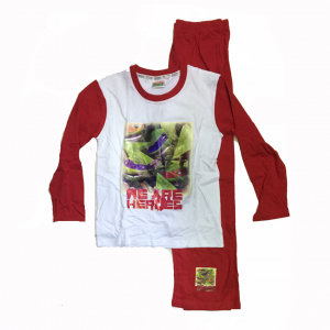 TARTARUGHE NINJA pigiama lungo in cotone bianco e rosso con stampa varie taglie