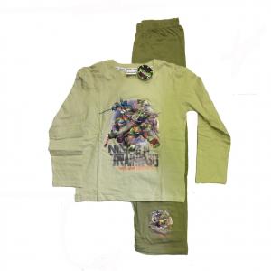 TARTARUGHE NINJA pigiama lungo in cotone beige e verde con stampa varie taglie