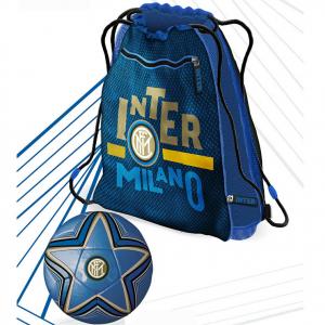INTER pallone+zainetto estensibile di 6cm con zip, prodotto ufficiale cm 42x36