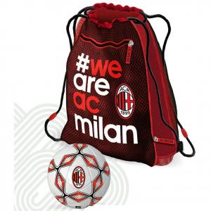 MILAN pallone+zainetto estensibile di 6cm con zip, prodotto ufficiale cm 42x36