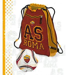 ROMA pallone+zainetto estensibile di 6cm con zip, prodotto ufficiale cm 42x36