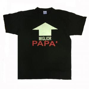 PAPA' t-shirt maglia manica corta in cotone nera stampata MIGLIOR PAPA' varie ta