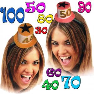 Frontino compleanno cappellino in feltro 30/40/50/60/70/80 anni donna colori ass