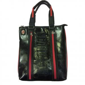 MILAN borsa tracolla da donna in eco-pelle nera e rossa con decorazione incise
