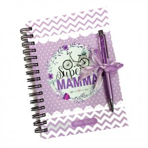 Libro di ricette SUPER MAMMA lilla con fogli a righe bianche + penna in omaggio