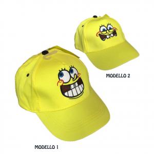 SPONGEBOB cappello con visiere in cotone giallo ricamato due modelli regolabile