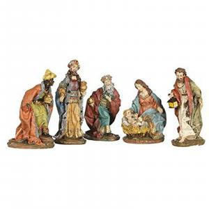 NATALE decorazione natalizia Natività presepe 5 pezzi in resina dimensioni 8 cm