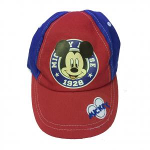 TOPOLINO MICKEY MOUSE cappello con visiera in cotone blu e rosso regolabile
