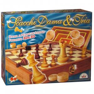 SCACCHI E DAMA E TRIA UNA ELEGANTE SCACCHIERA FORMATO cm. 30 x 30 DAMA E SCACCHI