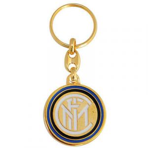 Portachiavi in metallo dorato con stemma INTER in rilievo e laccato