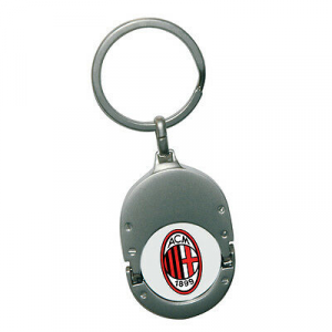Portachiavi metallo + moneta sganciacarrello con stemma MILAN laccato