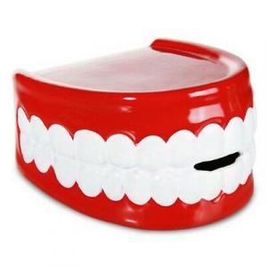 Salvadanaio dentiera ceramica con tappo con chiave 15x9 cm