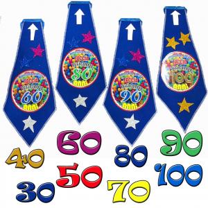 Compleanno 30-40-50-60-70-80-90-100 anni cravatta in feltro  feste memorabili