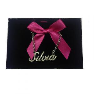 Collana nome SILVIA con strass in acciaio 40 cm con scatolina regalo by VIRCA