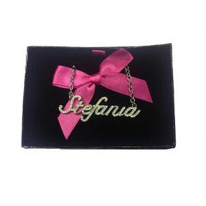 Collana nome STEFANIA con strass in acciaio 40 cm con scatolina regalo by VIRCA