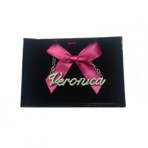 Collana nome VERONICA con strass in acciaio 40 cm con scatolina regalo by VIRCA