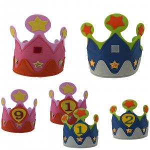 Corona compleanno in feltro personalizzabile da 1 a 9 anni taglia elasticizzata