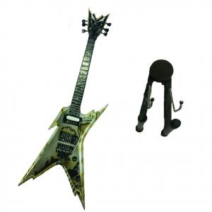 Miniatura chitarra argento in legno dipinto con base per appoggia 25,5 cm