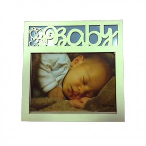 Cornice in legno bianca BABY BOY bambino 20x20cm by VIRCA