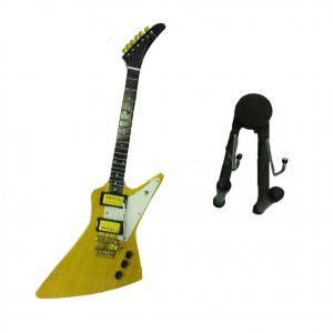 Miniatura chitarra oro e bianca in legno dipinto con base per appoggia 25,5 cm