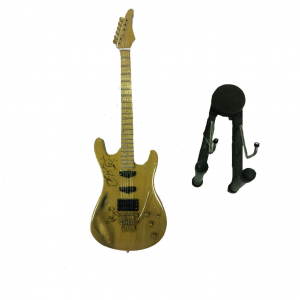 Miniatura chitarra in legno chiaro dipinto con base per appoggia 25,5 cm