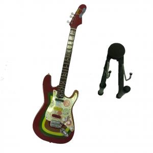 Miniatura chitarra rossa multicolor in legno dipinto con base per appoggia25,5cm