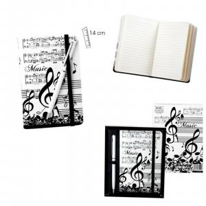 NOTE MUSICALI & SPARTITI agenda quaderno con penna 14x9 con chiusura ad elastico
