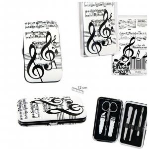 NOTE MUSICALI & SPARTITI cofanetto set manicure dimensioni 12x7 cm circa