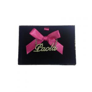 Collana nome PAOLA con strass in acciaio 40 cm con scatolina regalo by VIRCA